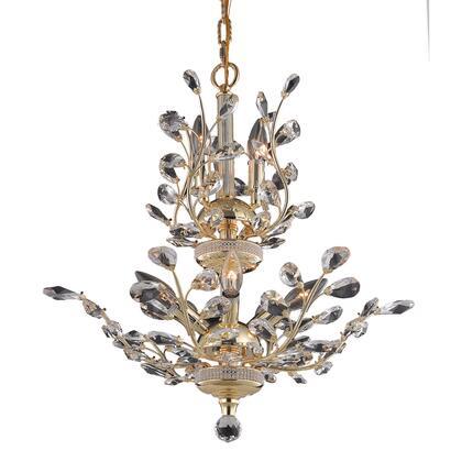V2011D21G/RC Orchid 8 Light Gold Chandelier Clear Royal Cut