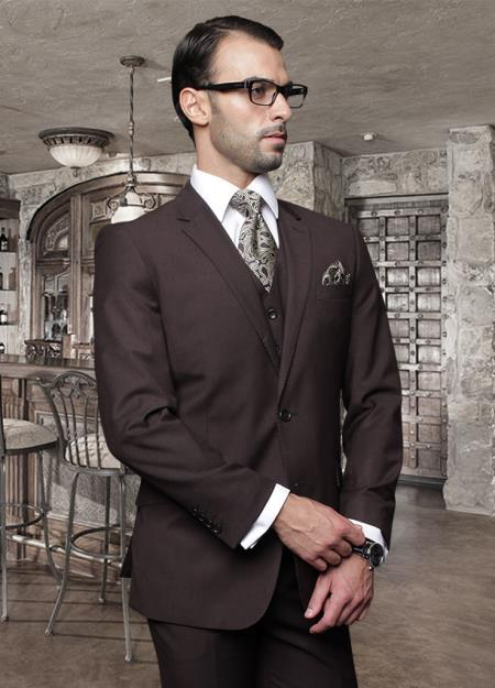 2 Button Brown Suit with a Vest Supers Italian Wool Slanted Pocket