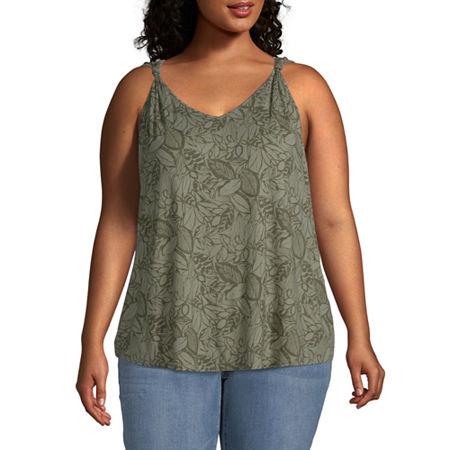 a.n.a Plus Womens V Neck Sleeveless Tank Top, 0x , Green