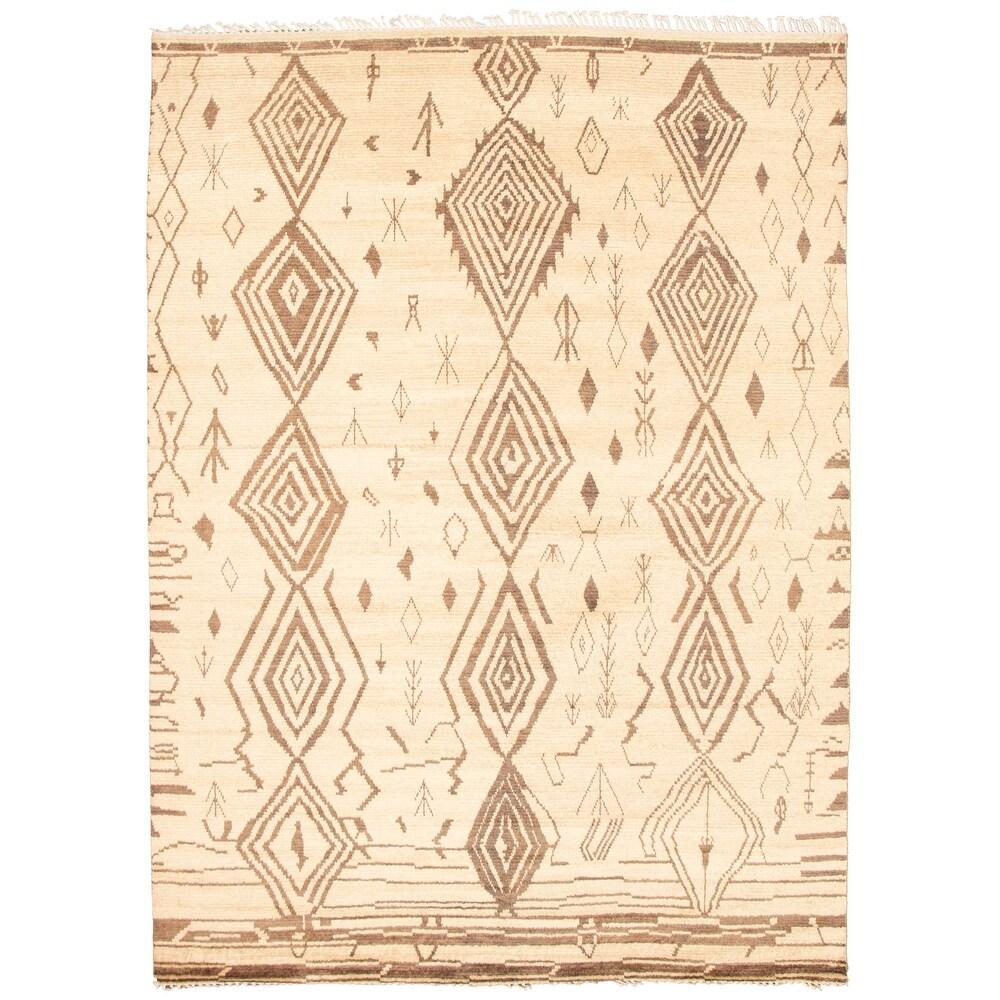 ECARPETGALLERY  Hand-knotted Pak Finest Marrakesh Cream Wool Rug - 8'10 x 12'1 (Cream - 8'10 x 12'1)