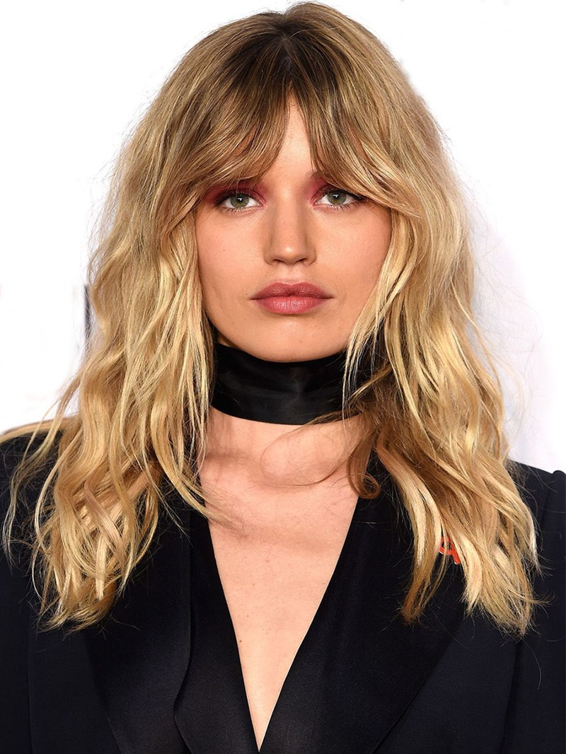 Ericdress Womens Long Layered Haircuts with Bangs Wavy Human Hair Wigs Lace Front Cap Wigs 20Inch