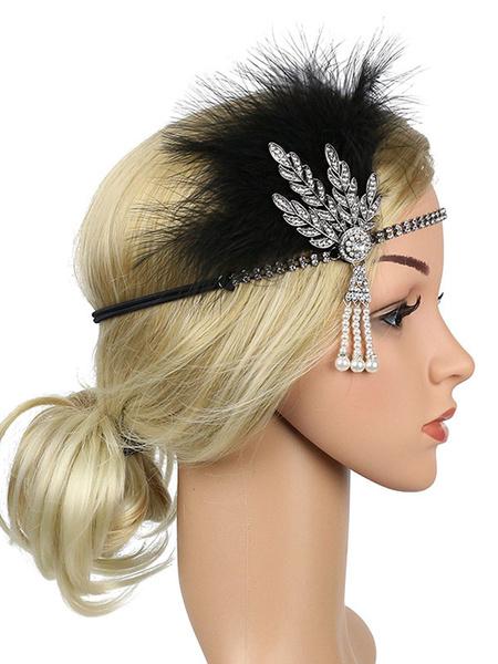 Milanoo Flapper Headpieces 1920s Great Gatsby Headband Women Feather Rhinestone Pearl Retro Hair Accessories Halloween