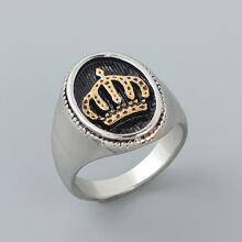 Maenner Ring mit Krone Praegung