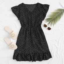 A Linie Kleid mit V Kragen und Punkten Muster