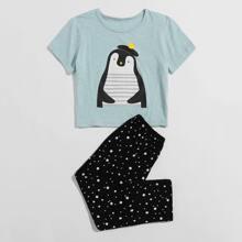 Toddler Girls Cartoon Penguin And Polka Dot Print PJ Set
