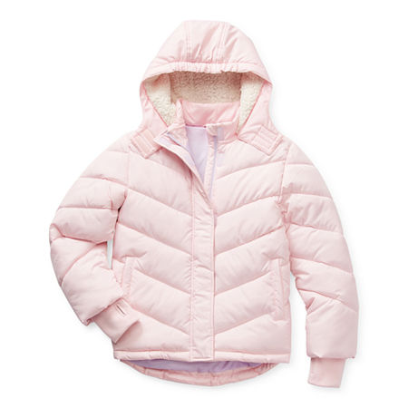 Arizona Little & Big Girls Hooded Heavyweight Puffer Jacket, X-large (16) , Pink
