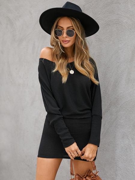 Yoins Black One Shoulder Dolman Sleeve Knitted Dress