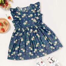 Toddler Girls Floral Ruffle Trim Denim Dress