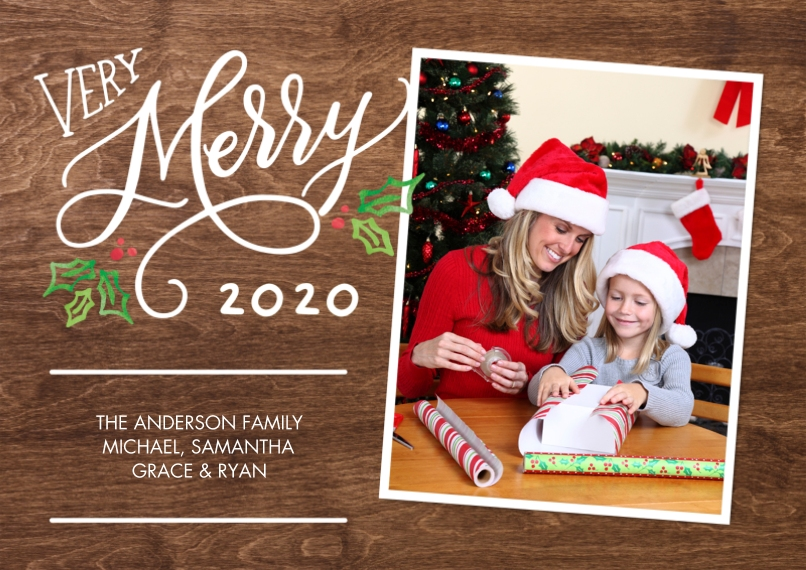 Christmas Photo Cards 5x7 Cards, Standard Cardstock 85lb, Card & Stationery -Christmas 2020 Very Merry by Tumbalina