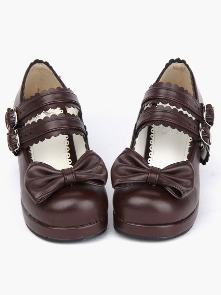 Milanoo Coffee Brown Lolita Chunky Heels Shoes Square Heels Ankle Straps Buckles Bow Decor
