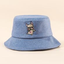 Men Dog Embroidery Bucket Hat