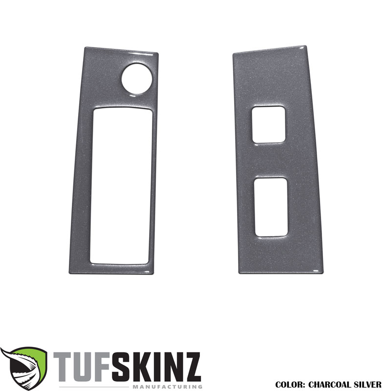 Tufskinz TAC036-CLG-G Access Cab Door Switch Panel Accents Fits 16-up Toyota Tacoma 2 Piece Kit Charcoal Silver Similar to Magnetic Gray