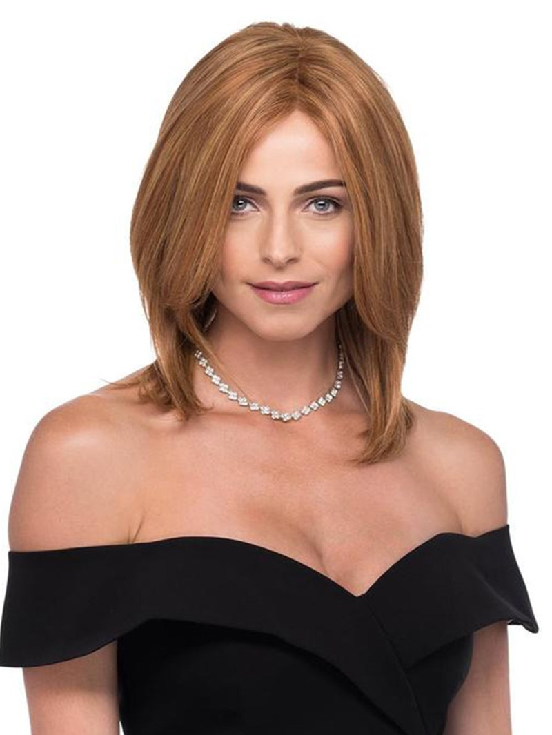 Ericdress Medium Hairstyles Womens Brown Color Natural Straight Human Hair Lace Front Wigs 16inch