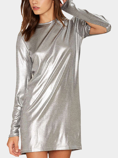 Yoins Sliver Fashion Reflective Material Round Neck Sleeevs Slit Dress