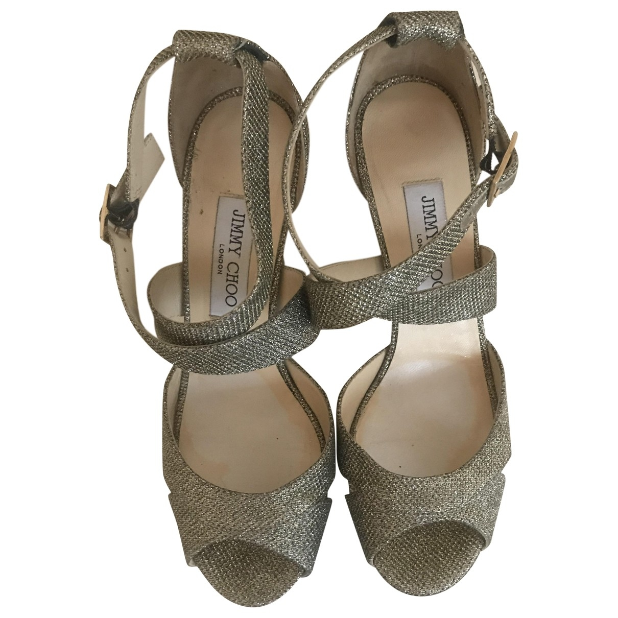 Jimmy Choo \N Gold Glitter Sandals for Women 39 EU