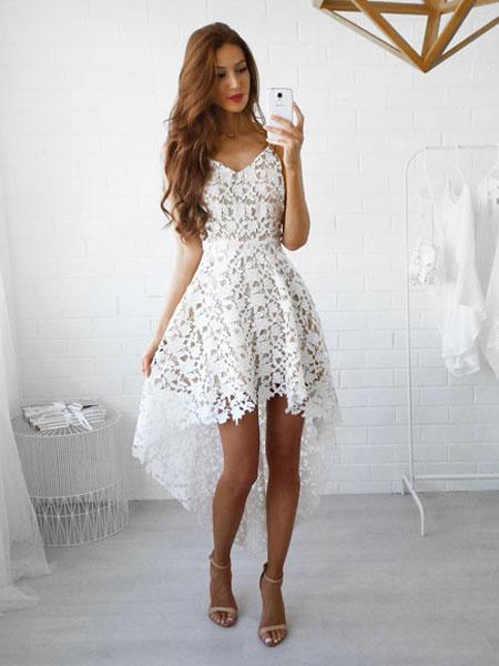 Milanoo White Lace Dress Spaghetti Straps High Low Semi Sheer Short Dress