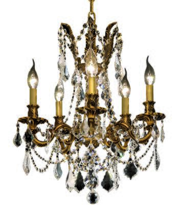 9205D18FG/SA 9205 Rosalia Collection Hanging Fixture D18in H19in Lt: 5 French Gold Finish (Swarovski Spectra