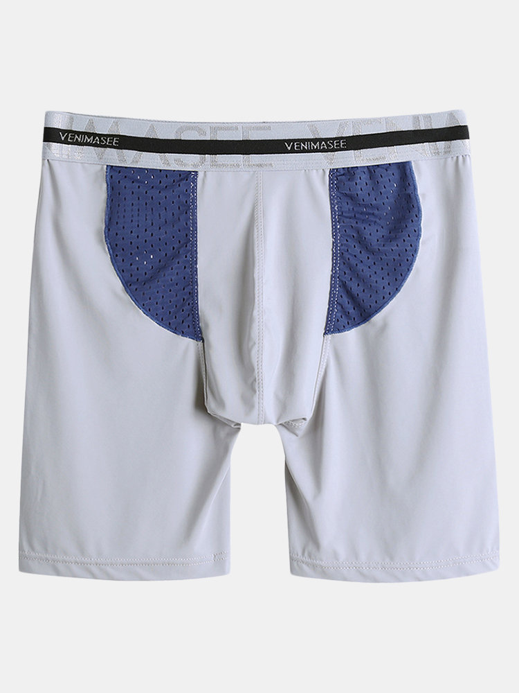 Mens Patchwork Mesh Breathable Underwear Seamless Sweat Fitness Lengthen Sport Pouch Boxer