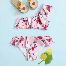 Toddler Girls Butterfly Print Ruffle Bikini Swimsuit