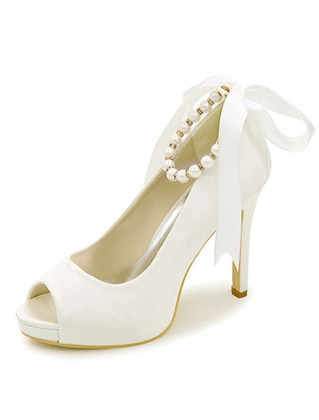 Milanoo Peep Toe Wedding Shoes Platform Pearls Ankle Strap Stiletto Heel Satin Bridal Shoes
