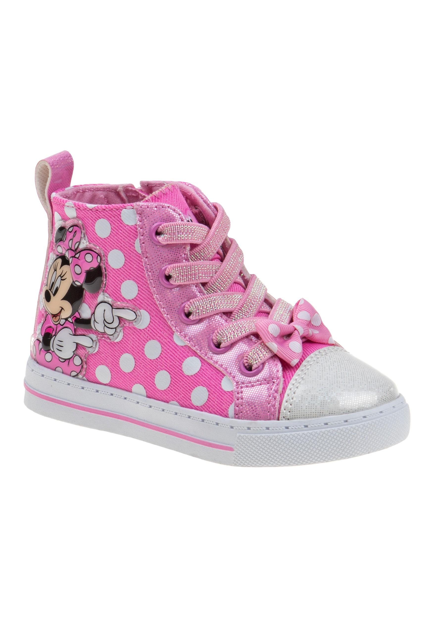 Disney Minnie Mouse Pink Polka Dot Girls Sneakers