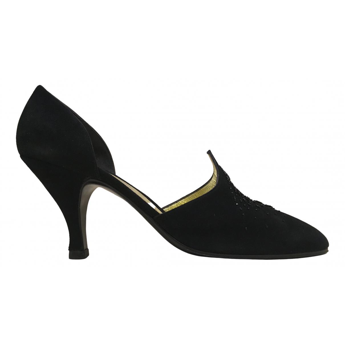 Hermès N Black Velvet Heels for Women 6 UK