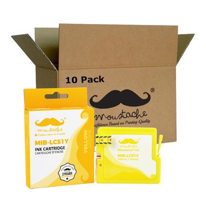 Compatible Brother LC51Y - LC51 cartouche d'encre jaune de Moustache, 10 paquet