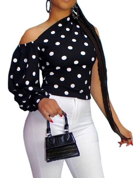 Milanoo Polka Dot Sexy Top One Shoulder Women Tops