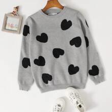 Girls Heart Pattern Sweater