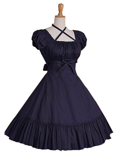 Milanoo Sweet Lolita Dress OP Burgundy Short Sleeve Lolita One Piece Dress