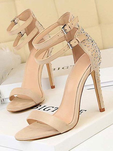 Milanoo High Heel Sandals Womens Rhinestones Open Toe Double Ankle Straps Stiletto Heel Sandals