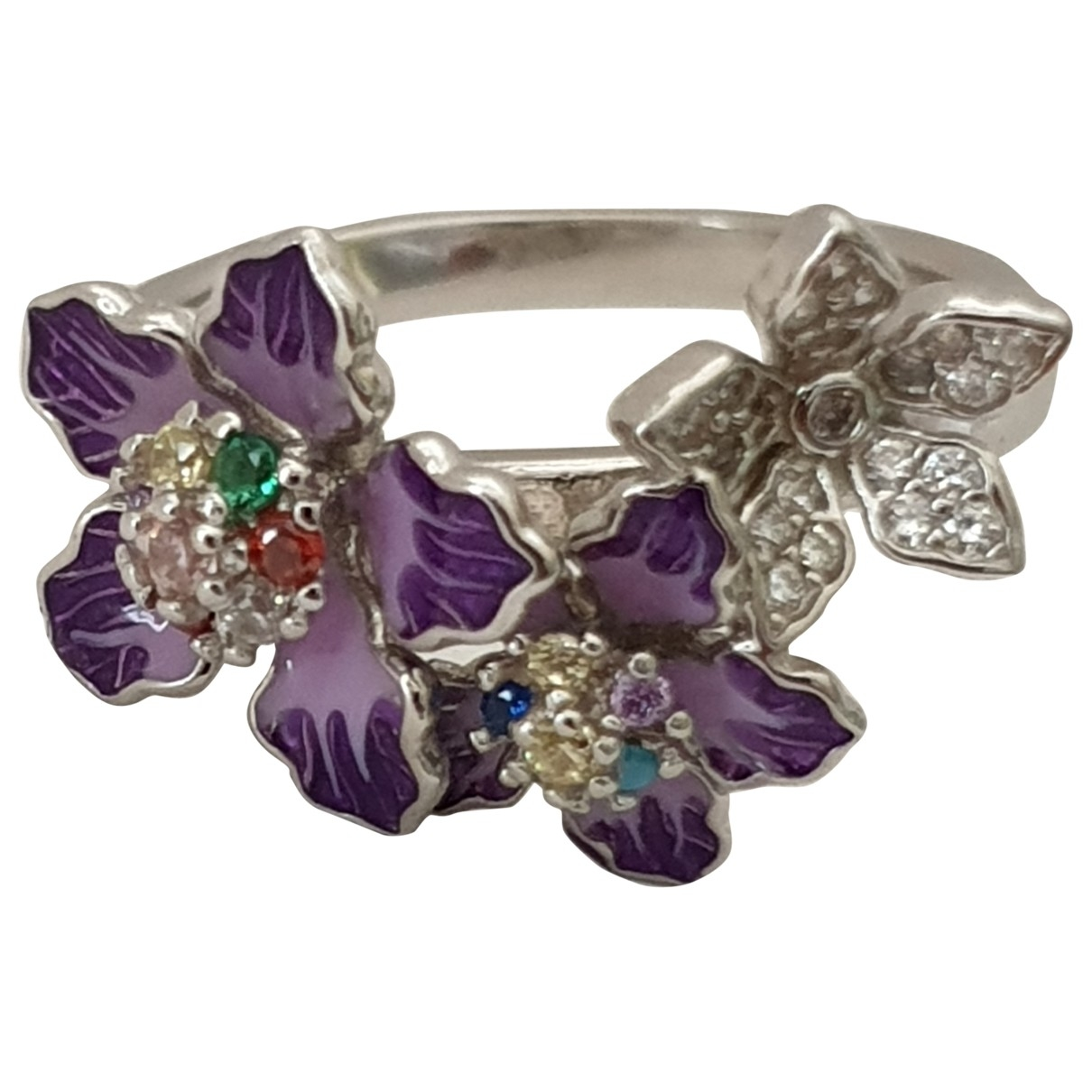 Non Signe / Unsigned Motifs Floraux Ring in  Lila Silber