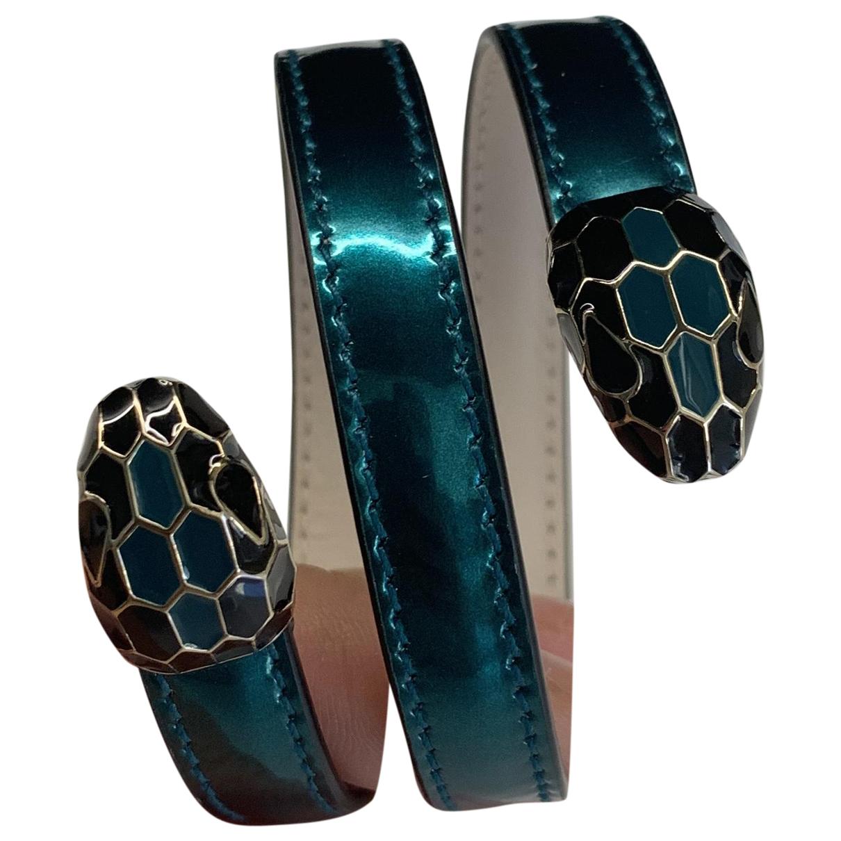 Bvlgari - Bracelet Serpenti pour femme en cuir - vert