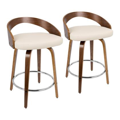 Grotto Collection B24-GROTTORWLCR2 Set of 2 Counter Height Stool with 360-Degree Swivel Seat  Mid-Century Modern Style  Chrome Footrest    Faux