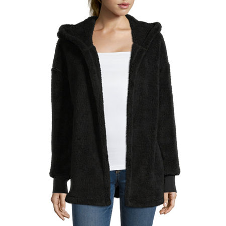 Juniors Womens Hooded Neck Long Sleeve Open Front Cardigan, Xx-large , Black