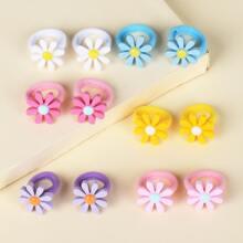 12 piezas goma de pelo de niñitas con diseño de flor