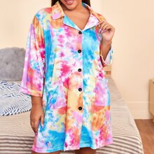 Plus Tie Dye Lapel Collar Button Front Nightdress