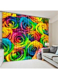 Romantic Colored Roses Printed 2 Panels Custom Decorative 3D Curtain