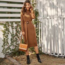 Mock-neck Ring Belted Pencil Sweater Dress