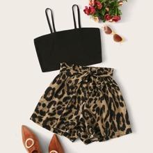 Vielfarbig Mit Guertel  Leopardenmuster  Laessig Zweiteiliger Anzug