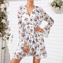 Floral Print Flounce Sleeve Wrap Dress
