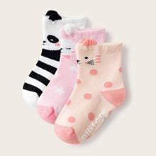 3 Paare Baby Socken mit Streifen Muster