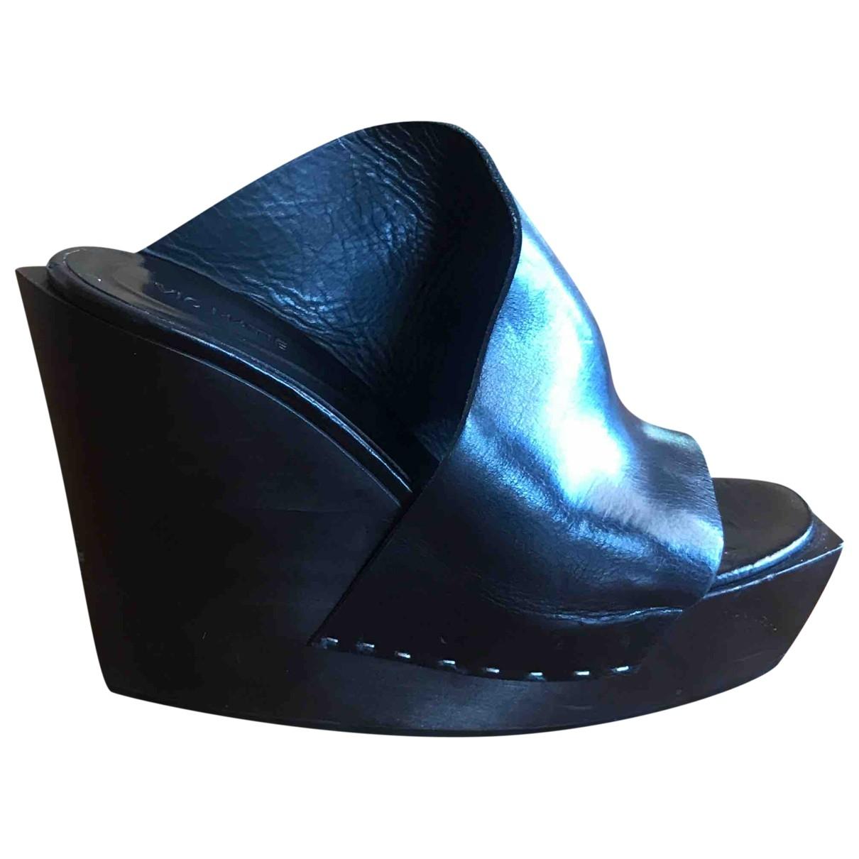 Vic Matié \N Black Leather Sandals for Women 37 EU