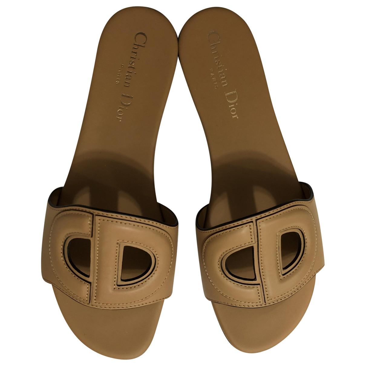 Dior - Sandales   pour femme en cuir - beige