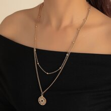 Collar colgante de redondo con abertura con diamante de imitacion