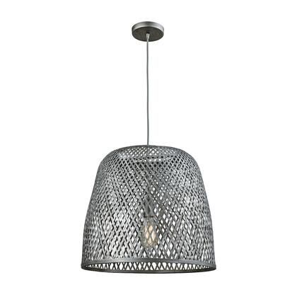 31642/1 Pleasant Fields 1 Light Pendant with Graphite Hardware and Gray Wicker
