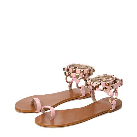 Yoins Pink Ring Toe Rivet Embellished Sandals