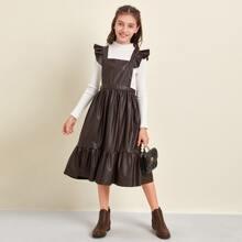 PU Leder Kleid mit Rueschenbesatz