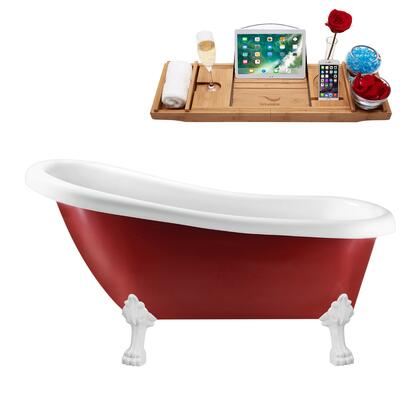 N482WH-IN-ORB 61 Clawfoot Tub and Tray with Rubbed Oil Bronze Internal Drain   White Feet and Glossy Red and White