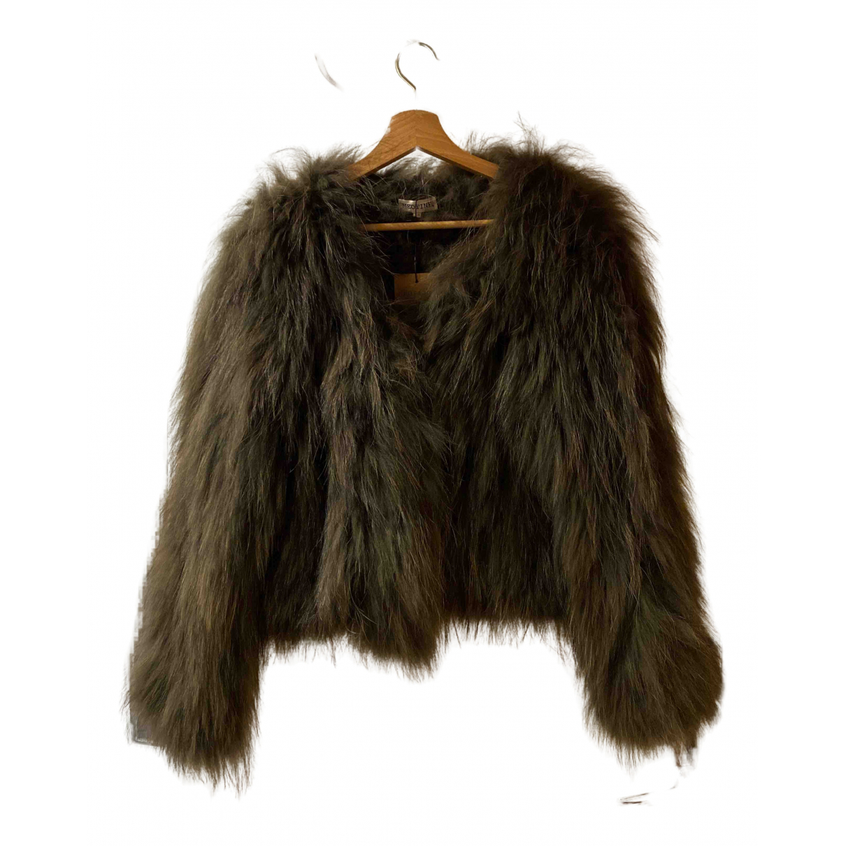Meotine - Manteau   pour femme en racoon - kaki